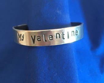 My Valentine, unique gift idea, aluminum cuff bracelet, textured