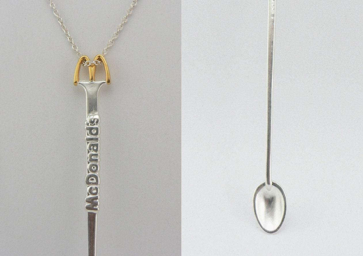 Silver /& Gold McDonalds Spoon replica of vintage coffee stirrer