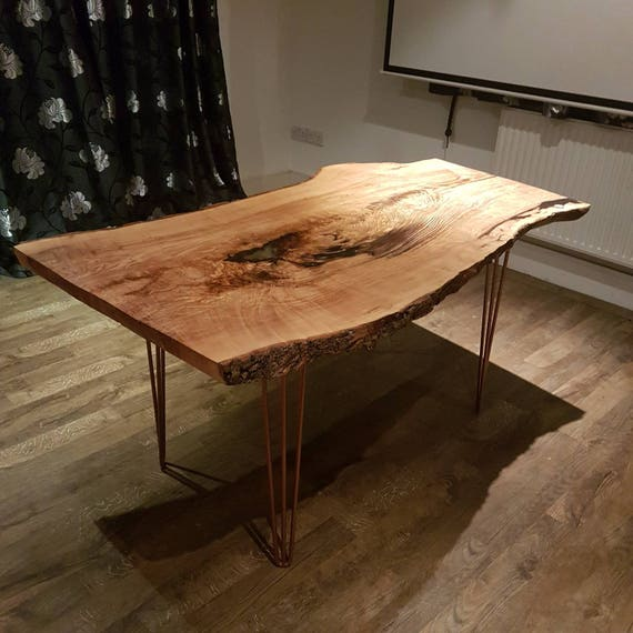 Live Edge Kitchen Table: Solid Ash Live Edge Dining/Kitchen Table