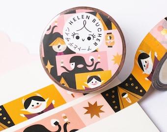 Yokai Washi Tape - Gold Foiling - Gold Effect - Fall - Spooky - Japan - Ghost -  Cute - Kawaii - Stationary - Tapes - Helen Bucher