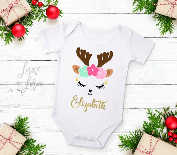 9b851cbcd Reindeer Baby Girl Christmas Outfit Personalized Name Deer | Etsy