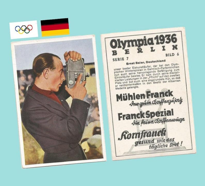 Muhlen Franck Trading Card #7-6 Ernst Baier Germany Skater Near Mint 1936 Garmisch Olympics