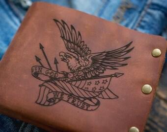 Leather Mens Wallet Tattoo Bike Purse Gift For Men Chopper Etsy