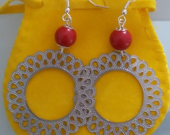 Filigree Flower Earrings in 925 sterling silver and colorful Majorcan beads, blue and red shades