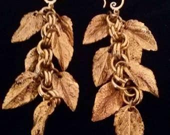 Vintage Brass Grape leaf earrings