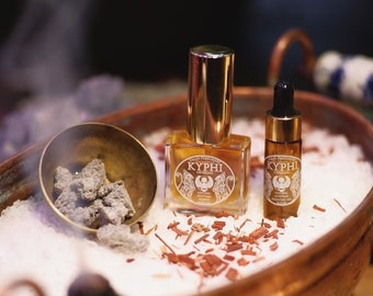 Kyphi Gift Set - Kyphi perfume, Handmade incense and 100% essential oil • Traditional kyphi incense recipe • Egyptian perfume •