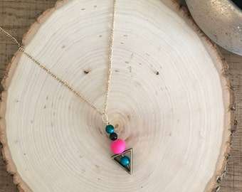 Pink and Turquoise Beaded Necklace, Beaded Necklace, Bright Necklace, Friend Gift, Bridesmaid Jewelry, Unique Necklace, Statement Jewelry