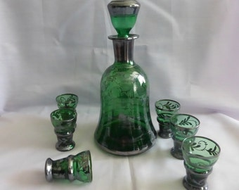 Vintage Venitian Decanter And Six Glasses. Vintage Dark Green Venitian Glass Made By Pauly And Co, Venitian Glass Decanter Set Circa 1960.