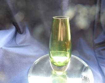 Vintage Scandinavian Art Glass Vase In Green, Heavy Green Art Glass Vase In A Teardrop Shape, Collectible Green Art Glass Vase, Retro Vase.