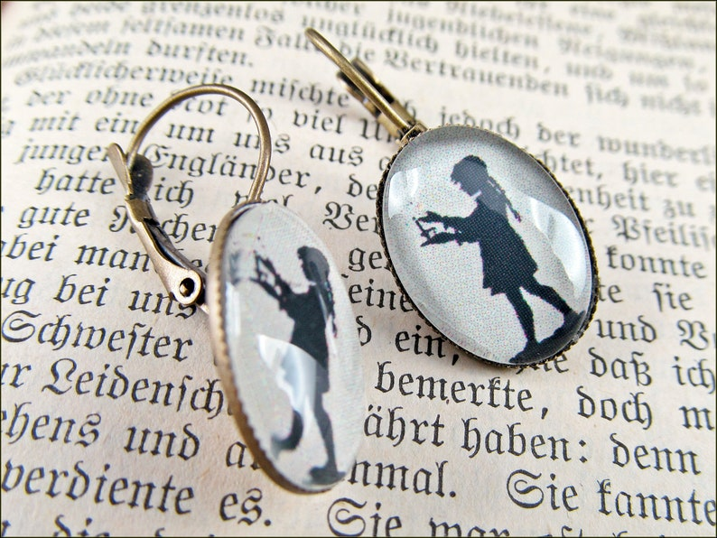 Earrings with clasp bronze Girl with Candle in the Night