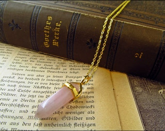 Delicate rose quartz necklace,  usable as pendulum