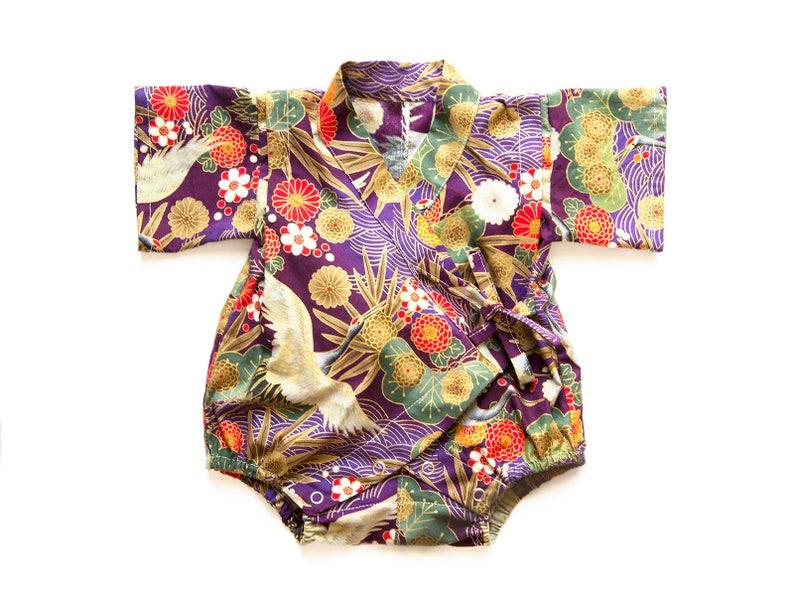 3e75c9919 Baby kimono romper crane baby romper newborn gift gender | Etsy