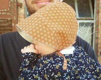 Handmade baby bonnet, japanese pattern, asanoha, mustard, brown, baby hat, baby gift, sunbonnet, newborn hat, newborn gift, japanese baby