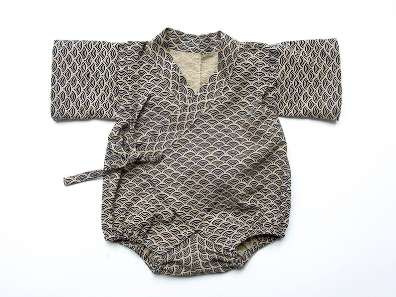 67de5da3c Baby kimono romper wave traditional japanese pattern baby | Etsy