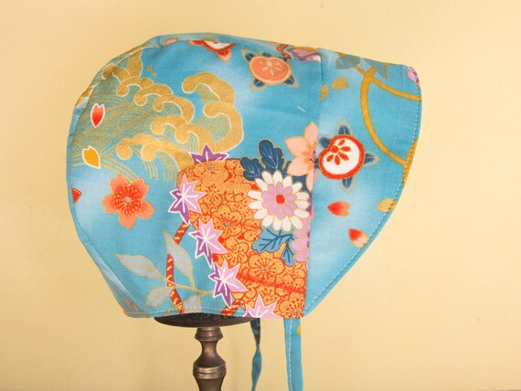 New Handmade Yellow and Green Floral  Baby Sun Bonnet