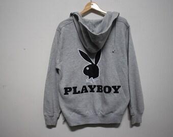 6eec7ba03e35 Vintage Playboy Embroidery Big Logo Spellout Zipper Sweater Hoodie Size  Medium Hip Hop Rap Streetwear Logo Box Champion Bunny Head