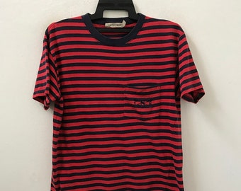 abfbddee4867 Vintage 90s Calvin Klein Sport Single Pocket Border Striped t shirt Grunge  / Skate / Surfing / Summer / Rockabilly