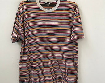 23bbf76cbf1dfb Vintage 90s CTME Made in Usa Multiple Color Striped t shirt Grunge / Skate  / Surfing / Summer / Rockabilly