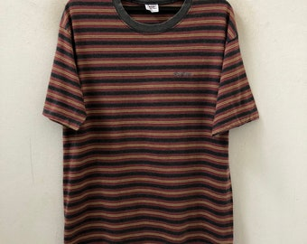 cced4e668b Vintage 80s 90s Gotcha Made In Usa Multiple Color Border Striped t shirt  Grunge / Skate / Surfing / Summer / Rockabilly