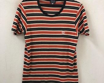 b53f86ede904 Vintage 90s GUESS USA Multi Color Striped t shirt Grunge / Skate / Surfing  / Summer / Rockabilly