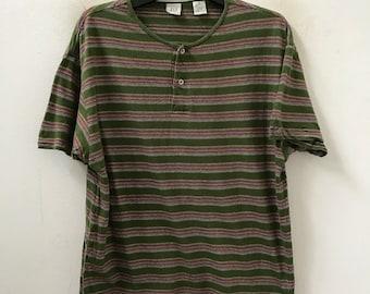 14cff368 Vintage 90s Gap Multiple Color Striped Henley shirt Grunge / Skate /  Surfing / Summer / Rockabilly