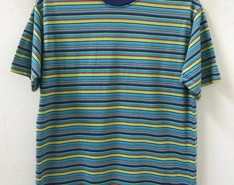 fc4ceb214a 90s Vintage GAP Multiple Color Border Striped tee shirt Grunge / Skate /  Surfing / Summer / Rockabilly