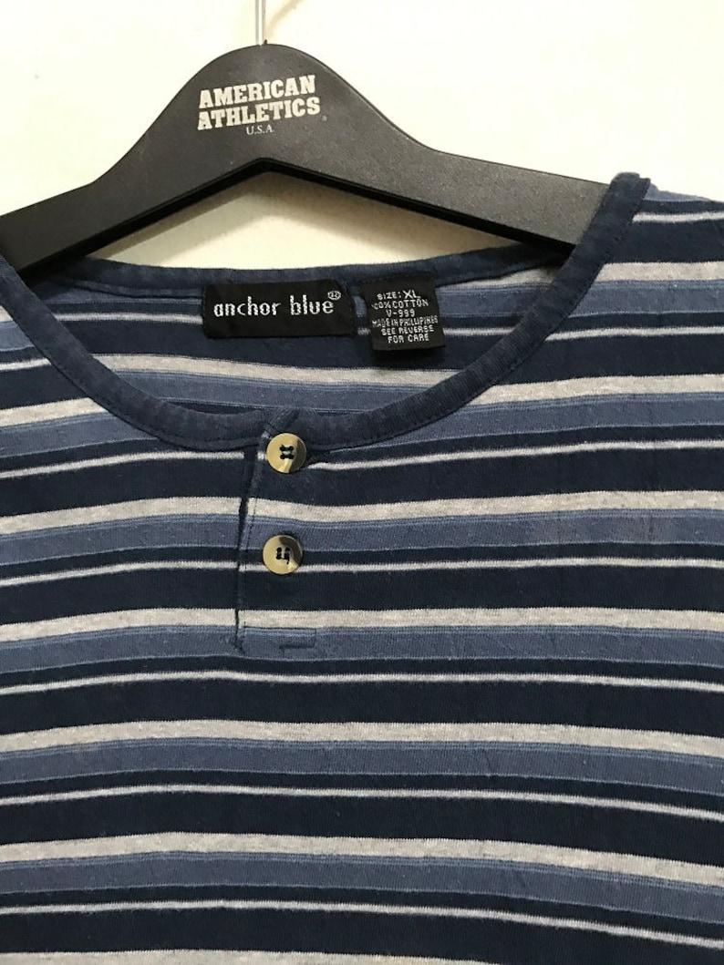 ce1c1dcb 90s Vintage Anchor Blue Striped Henley tee shirt XLarge Skate | Etsy