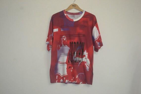 a63c07b66585e8 Vintage 80s 90s Nike Grey Tag Air Jordan All Print t shirt