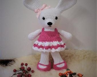 A Cute Bunny Girl, amigurumi bunny, crocheted bunny, handicraft, handmade item
