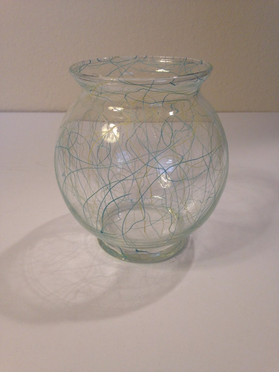 Clear Glass Fish Bowl Vase With Classic Drizzle Design By Etsy