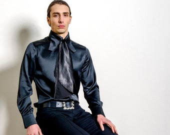 60s Dandy Style 'Wilde' Men's Shirt in Black Satin  - Mod Psych Glam Hippie // Vintage Reproduction