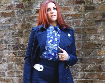 60s Style 'Eleos' Lightweight Jacket in Embossed Navy Jacquard with Large Silver Buttons // Vintage Reproduction Mod Psych