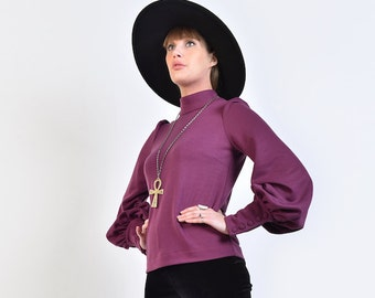 60s Style 'Metropolis' Top in Purple Jersey - Huge Bishop Sleeves and High Neck // Vintage Reproduction Mod Psych Glam 70s