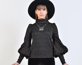 60s Style 'Metropolis' Top in Black Jersey & Silver Lurex Stardust - Huge Bishop Sleeves // Vintage Reproduction Mod Psych Glam 70s