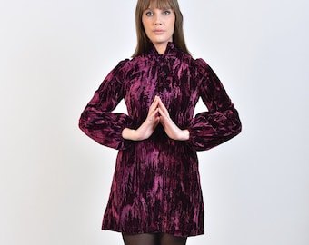 60s Style 'Wioletta' Purple Crushed Velvet Mini Dress with Balloon Sleeves and Deep V Neckline - Vintage Reproduction Mod Psych