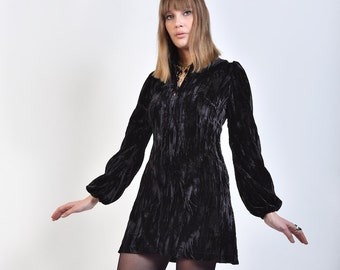 60s Style 'Iride' Black Crushed Velvet Mini Dress with Balloon Sleeves and Low V Neckline - Vintage Reproduction Mod Psych
