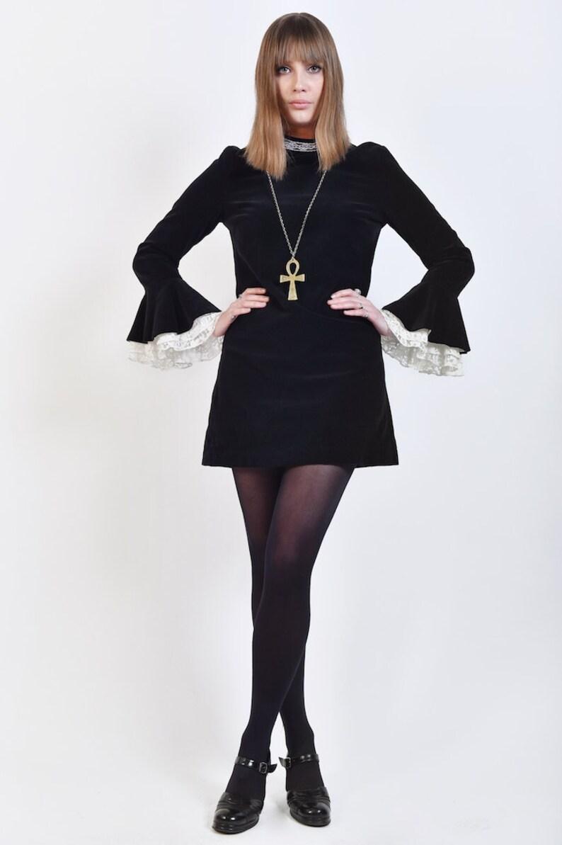 d7a72511547 60s Victorian Style Mini Dress Black Velvet & White Lace | Etsy