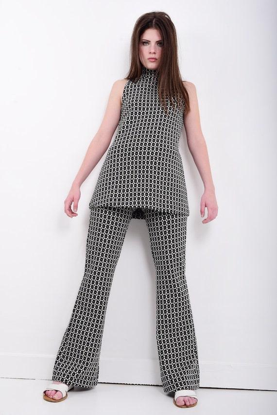 60er Jahre Stil Mod Hose Anzug Schwarz Weiss Jersey Armellos Etsy