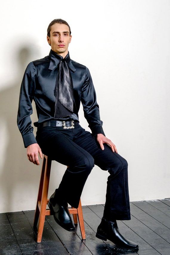 60s 70s Dandy Style Shirt in Black Satin 'Wilde' Mod Psych Glam Hippie Vintage Reproduction