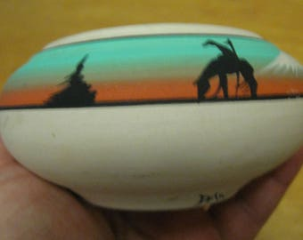Navajo Pottery Signed Native American Pottery Bowl American Indian Artwork Free Shipping