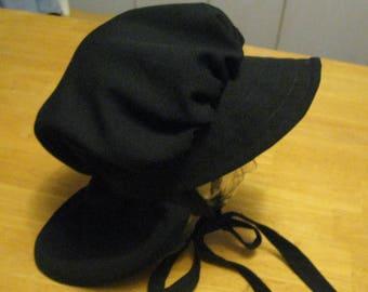 Handmade women Black Mennonite Bonnet Style Black Amish Bonnet Style Salem  Style Women s Black Headwear Free Shipping in u s a d6f4411471c8