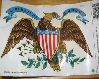 American Eagle Patriotic Decal lot of 2 Decals by Decoral, Eagle, Water Slide Tranfers, Craft, A-3, Eagle, Americana, kitschy,