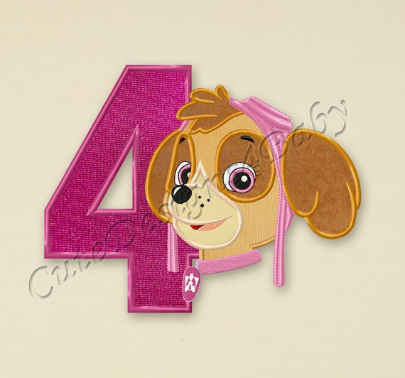 Paw Patrol Skye Number 4 Applique Embroidery Design Paw Etsy