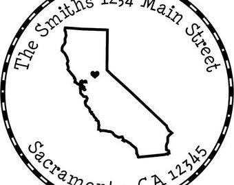 CA State Love Self- Inking Custom Address Stamp