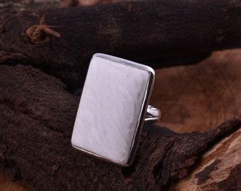 Garnet Natural Gemstone 925 Solid Sterling Silver Statement Jewelry Adjustable Ring Orange Scolecite