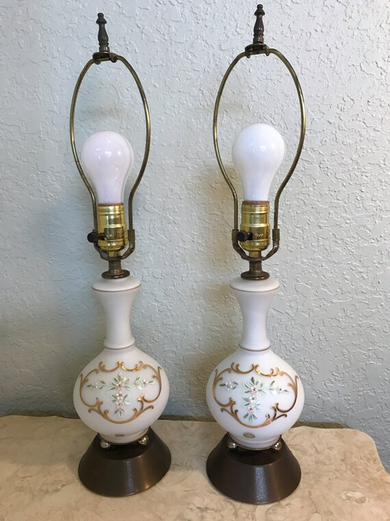 Vintage White Painted Glass Lamps, Made in Germany