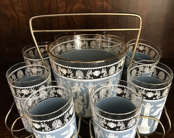 Wedgwood Jeanette Glasses & Ice Bucket with Caddy