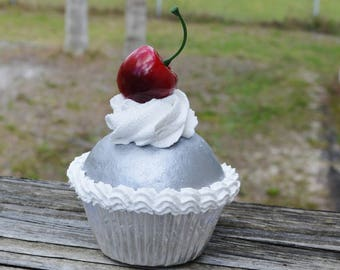 Silver and White Cupcake (fake)