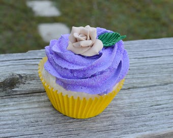 Yellow and Purple Cupcake (fake)