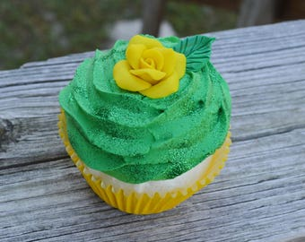 Green and Yellow Cupcake (fake)